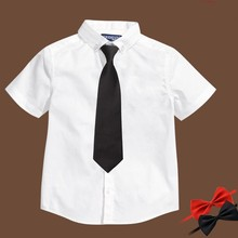 New Boys White Shirt Bow-tie Boys Dress Shirts High Quality  Camisas Nino  Boys Shirts 6BBL121