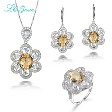 I&zuan 925 Siver Jewelry Sets Natural 6.08ct Citrine Pendant & 6.86ct Natural Citrine Earrings & 5.97ct Natural Citrine Ring