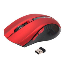 Black/Red 2400DPI Optical Wireless Mause Ergonomic Mice Portable Mini USB Gaming Mouse For Computer PC Laptop