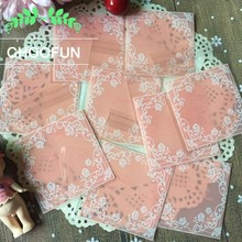 100pcs Pink Button White Rose Self-adhesive Seal OPP Event Gift Cookie Decorations Packaging Bags DIY Candy Gift Bag BZ005(China)