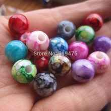 (30 Pieces/lot) 8mm 10mm 12mm Acrylic beads Printing loose beads mix Color for jewelry making(China)