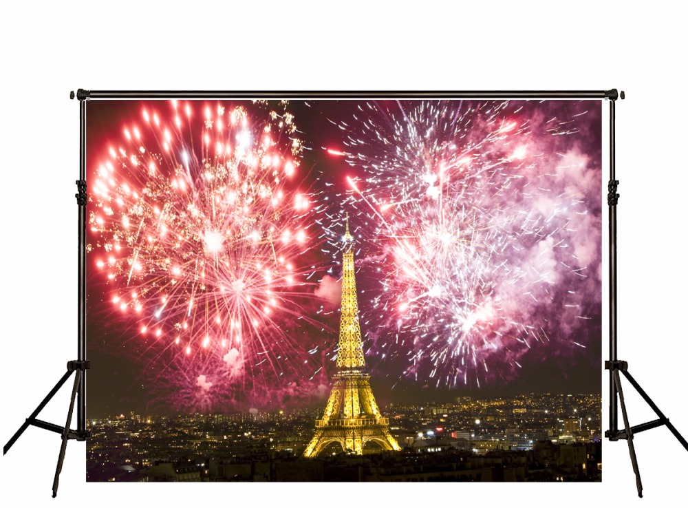 5X7FT Kate Eiffel Tower Wedding Backdrops Photography Fireworks Photography Studio Backgrounds Backdrops Valentine Backdrop<br>