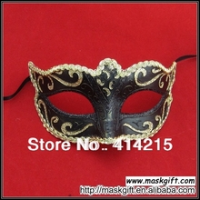 Free Shipping (144pcs/lot) 100% Handpainted High Quality Unisex Hot Sell Black And Gold Venetian Style Masquerade Masks