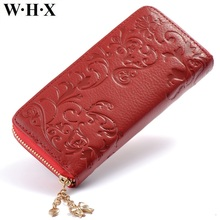 WHX Genuine Leather Wallets Red Women Long Wallet Female Woman Wallet Zipper Lady Coin Purse Pocketbook Billfold Card Money Bag(China)