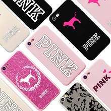PINK Logo Brand NEW Candy Soft Silicon Case for iPhone 7 Victoria Fashion Design Phone Case Coque for iPhone 6s 6 Plus 5s SE(China)