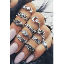 11pcs/Set Boho Vintage Punk Antique Flower Carved Midi Finger Rings For Women Bohemian Knuckle Ring Set Jewelry Anillos