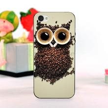 cute owl made from coffee cup and coffee beans Classic image paintings cover mobile phone For iPhone 4 4s case