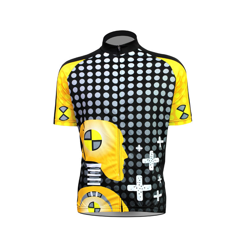 Alien Sports Wear Robot Pattern Bicycle Clothing Men Cross and Polka Dot top Sleeve Cycling Clothes Size XS-5XL<br><br>Aliexpress