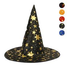 Halloween Hat Makeup Props Party Witch Dress Up Cap Gold Hats Festival Halloween Adult Witch Hat Party Favor 3(China)