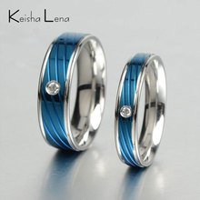 Keisha Lena thin blue line rings men stainless steel Ring blue Titanium rings Band new punk ring with bright stone