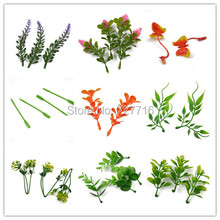 Mix design Simulation plastic lavender flower Artificial grass leaves with hole for decor flower Garland 20pcs