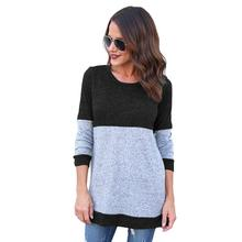 Autumn Winter Women Knitwear Fashion Jumper Stripe Patchwork Knitted Sweaters Femme Long Sleeve Pullover Tops WS3794V(China)