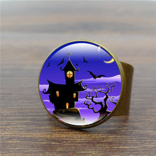 New Arrival vintage antique ring handcrafted Art Glass Dome Jewelry Creative castle bat rings for women men Halloween gifts