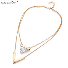 2017 Boho Multilayer Triangle Turquoise Necklace For Women Gold Color Chain Choker Necklace Collier Ras Du Cou 7C0173