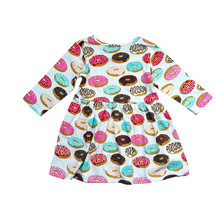 Pretty Baby Kids Girls Dress Cartoon Doughnut Feather Print Long Sleeve Dresses Toddler Lovely Princess Sundress 1-6Y Clothes(China)