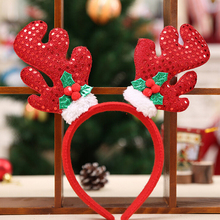 N2HAO 1PCS Christmas Hair Band Christmas Deer Ears Children Bell Red Antler Head Buckle Gifts Party Decoration(China)