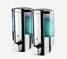 Quality assurance wall mounted chrome plating 350ml*2 double press button manual liquid soap dispenser(China)