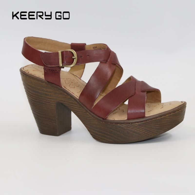 17 years of new high-end leather heels high comfort shoes fashion sandals 36-40.5<br>