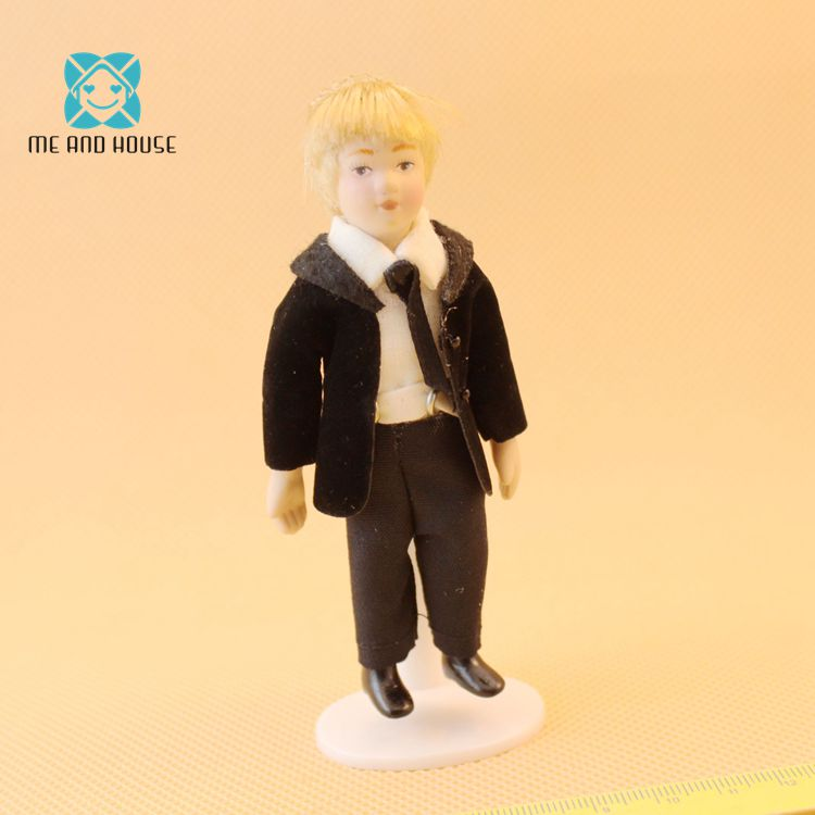 1:12 Dollhouse Miniature Doll Standing Porcelain Doll Cool Boy With Black SuitsA