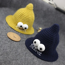 2017 Autumn Winter New Hot Fashion Children Caps for Baby Girls and Boys Knitting Big Eyes Child Bucket Hats Baby Clothing