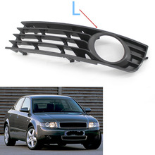 Black Front Lower Side Bumper Fog Light Grille Left for Audi A4 B6 Sedan left