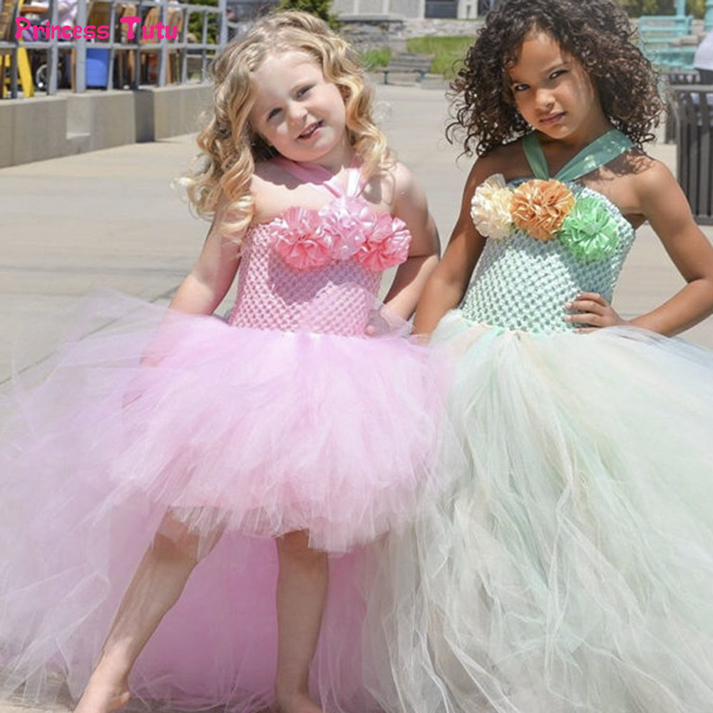 Handmade Removable Long Train Tail Girls Flower Tulle Tutu Dress Princess Costume Kids Pageant Birthday Party Wedding Dresses<br>