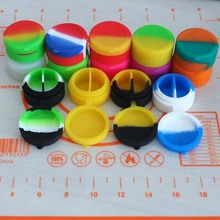 50pcs\lot 7ml silicone container round hinge design silicone jar for storage spices wax dab cigarette oil or cream kitchen jars(China)