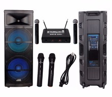"STARAUDIO SDMN-15RGB 15"" 5000W Pro PA DJ Powered Active Stage LED USB SD FM BT Speaker with 2CH VHF Mic System(China)"