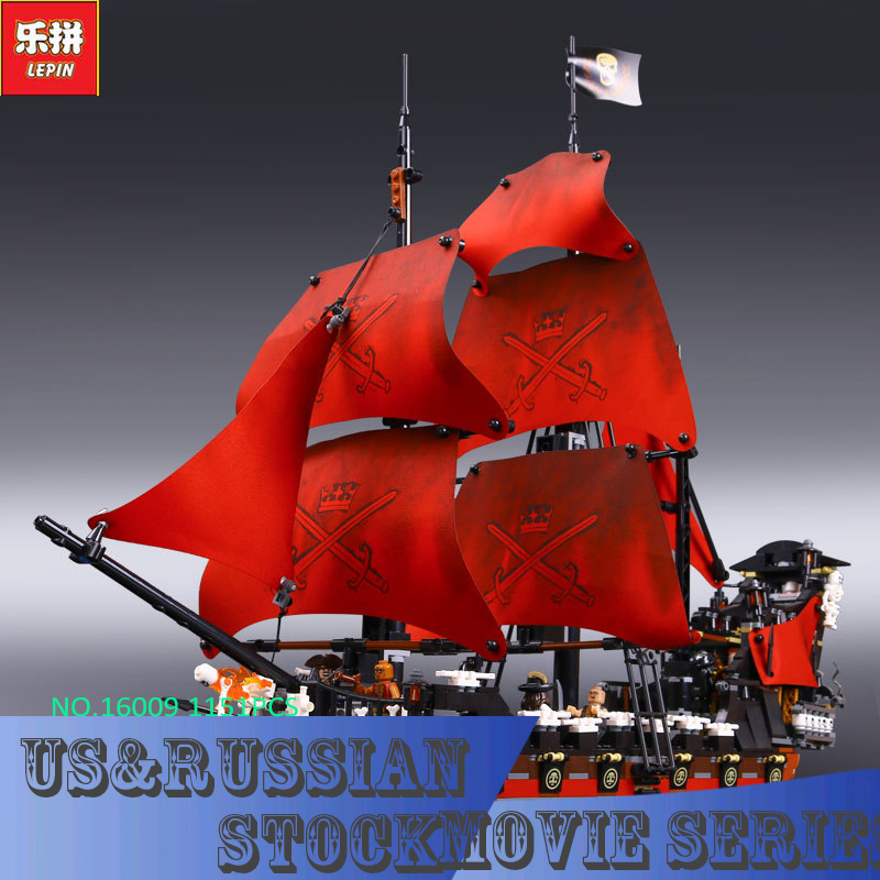 New LEPIN 16009 1151pcs Queen Anne's revenge Pirates of the Caribbean Building Blocks Set Bricks Compatible 4195(China (Mainland))