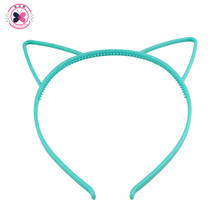 Haimeikang Solid Candy Colour Color Plastic Cat Ear Tiara Princess Headband Hair band With Teeth girls kids Hair Accessories
