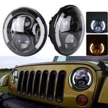 DOT Approved 80W Round 7inch Universal Led Head light Wrangler Offroad Led Headlamp with halo ring for Defender TJ