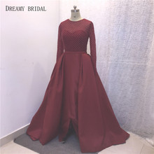 Dreamy Bridal Heavy Beading Evening Dress O Neck Long Sleeve Illusion Lace Hand Pleated Puffy Train Robe De Soiree  From Yousef