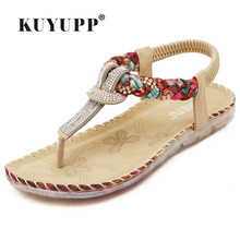 KUYUPP Bohemian Ladies Thong Sandals Diamond Beads Slippers Ankle Slingback Flats Flip Flops Shoes Summer Beach Sandals YDT538