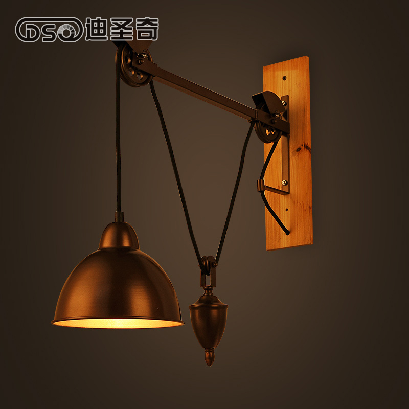 Retro Modern American country lusent iron mining lamp  wall lamp French spindle pulley wall lamp<br><br>Aliexpress