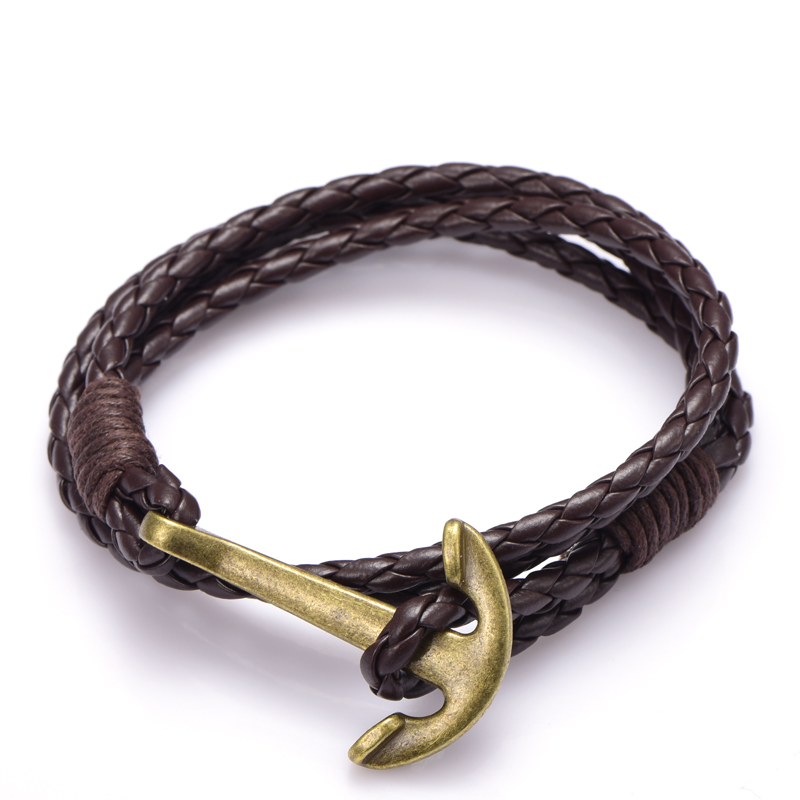 NIUYITID Man Anchor Bracelet 41cm PU Leather Bracelet For Men Women Fashion Wristband Charm Braclet Male Accessories Jewelry (14)