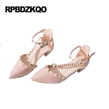High Heels Cheap Sandals Pointed Toe Famous Size 4 34 Patent Leather Rivet Low Pumps Thick Pink Luxury Brand Women Shoes 2017(China)