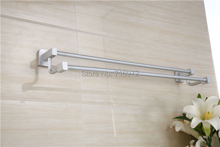 Free Shipping Wall Mounted Space Aluminium Double Towel Bars,Towel Rail, Towel Holder,Bathroom Accessories-Wholesale-6325<br><br>Aliexpress