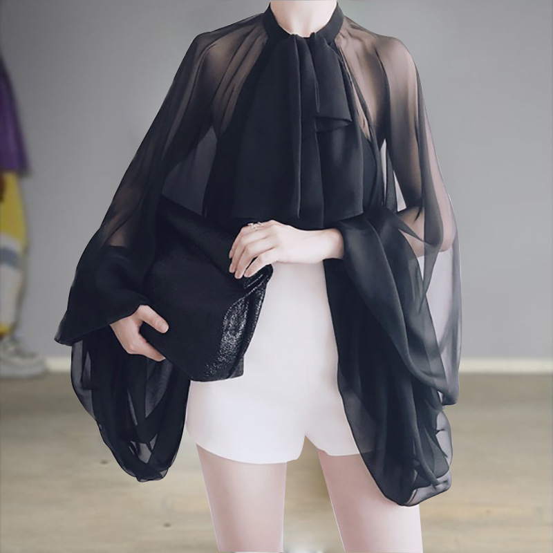 2019 New Bowknot Chiffon Blouse Shirt Women Lantern Sleeve Tulle Transparent Sexy Tops Large Size Spring Summer Casual