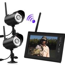 "7"" LCD Wireless Baby Monitor 4 Channel Quad Security System DVR With 2 Cameras(China)"