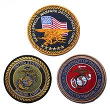 Embroidery America Flag Navy Seals Patch 3D United States Marine Corps Tactical Patch Cloth Morale Armband For Bag Cap Jacket(China)
