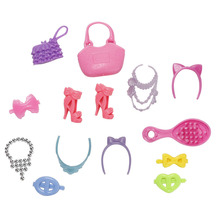 14pcs/set Lovely Plastic Accessiries for Barbie Dolls Doll Bag Headwear Shoes Necklace Blister Toy for Barbies Doll Accessories