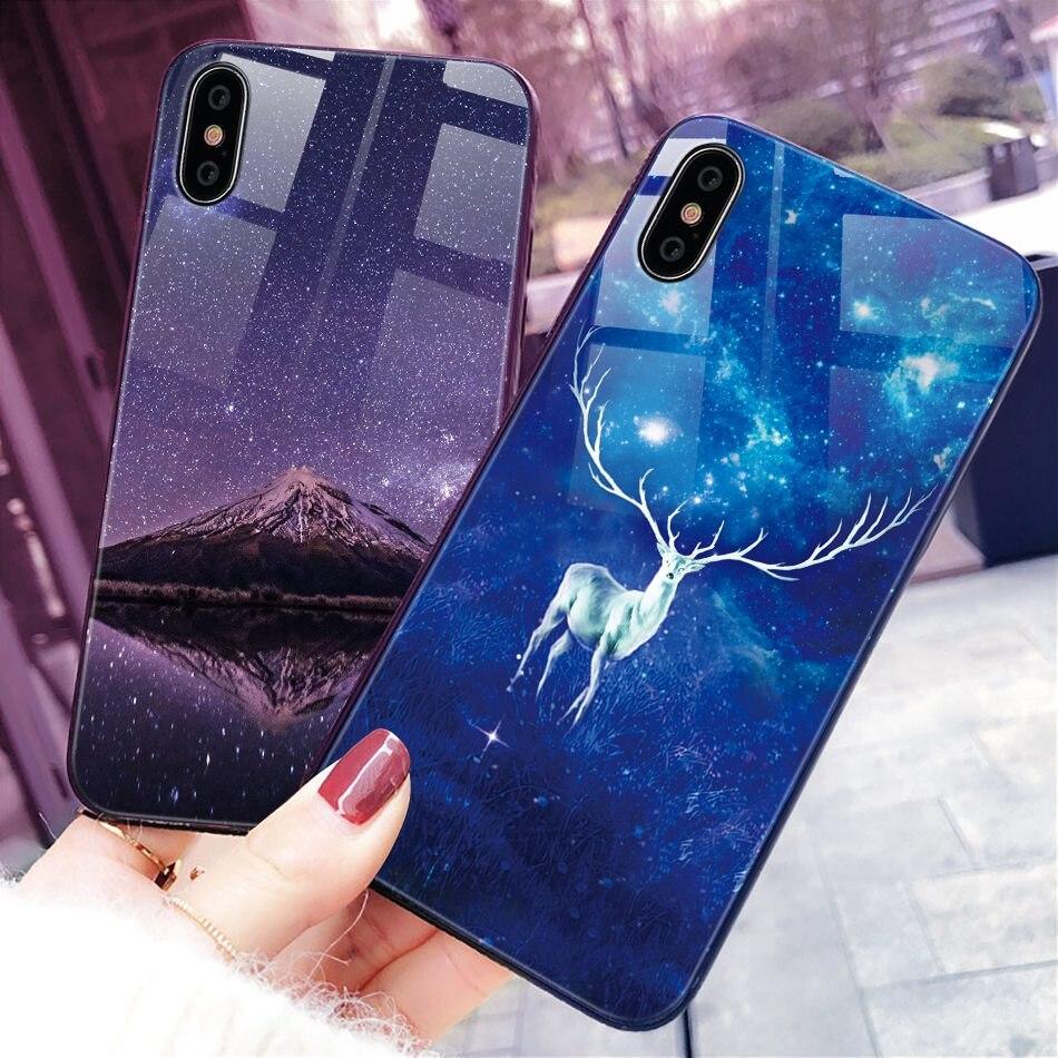 iPhone X Xr Xs Max豪华硅胶手机壳适用于iPhone 6的iPhone 7 8 Plus手机壳适用于iPhone 6 6S Coque的渐变钢化玻璃保护套(23)