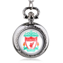 Fashion Bronze Liverproof Football Theme Quartz Pocket Watch With Necklace Chain Gift For Men Women