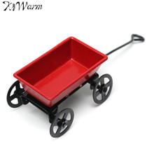 Kiwarm Cute Dollhouse Metal Miniature Metal Red Small Pulling Cart Garden Furniture Accessorie Toy For Home Decor Gift Ornament(China)
