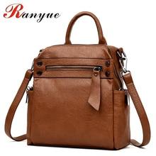 RANYUE Women Backpack High Quality PU Leather Mochila Escolar School Bags Teenagers Girls Top-handle Backpacks Sac Dos