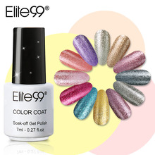 Elite99 7ml Platinum Color Nail Gel Varnish Semi Permanent Nail Art Glitter Pearl Gelpolish Lacquer Soak off UV Gel Nail Polish