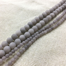 STENYA 4-12mm Natural Stone Bijoux Dull Polish Spacers Matt Gray Round Beads Necklace Earrings Men Bracelet Jewelry Findings Diy(China)