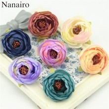 10pcs 4cm decorative Mini Silk Rose Bud Artificial Scrapbooking Flower Head For Wedding Decoration DIY Wreath Gift Craft Flower(China)