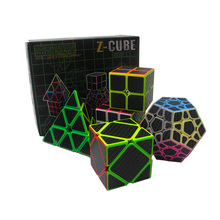 5pcs /box Carbon Fiber Magic Cube Pyraminx & Dodecahedron & Axis Cube &2x2 Cube &3x3 Cube Speed Puzzle Toy Gift -48(China)