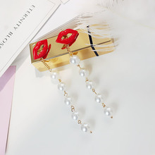 High quality gold pearl earrings sexy red lips long Earrings 925 needle cute Korean style fashion fringe Earrings lovers gift(China)